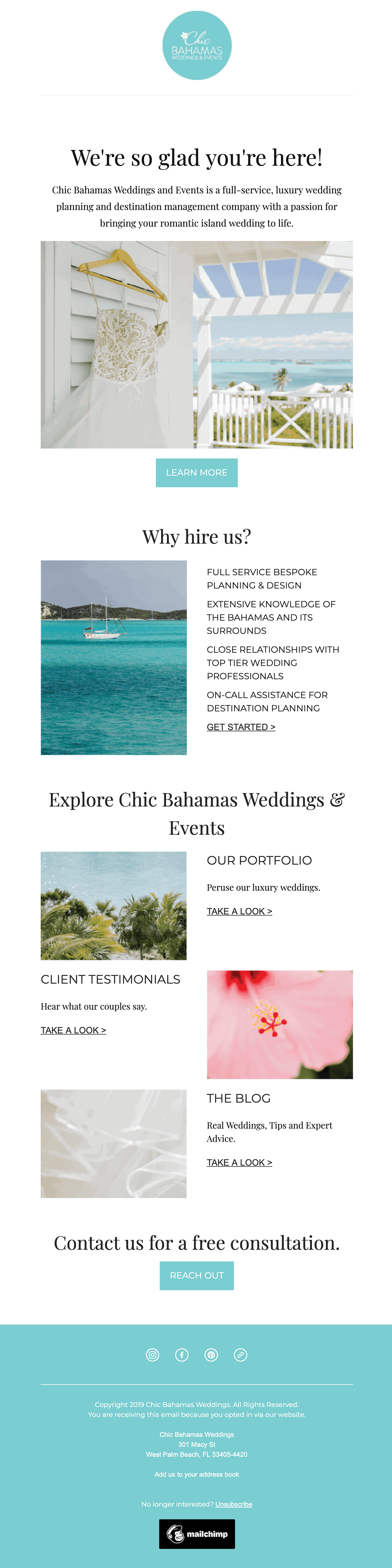 Chic Bahamas Weddings welcome email