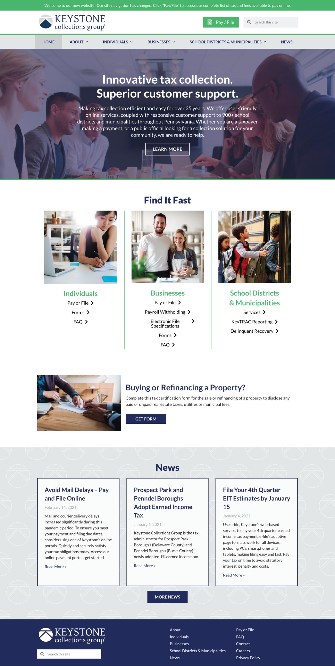 Keystone home page