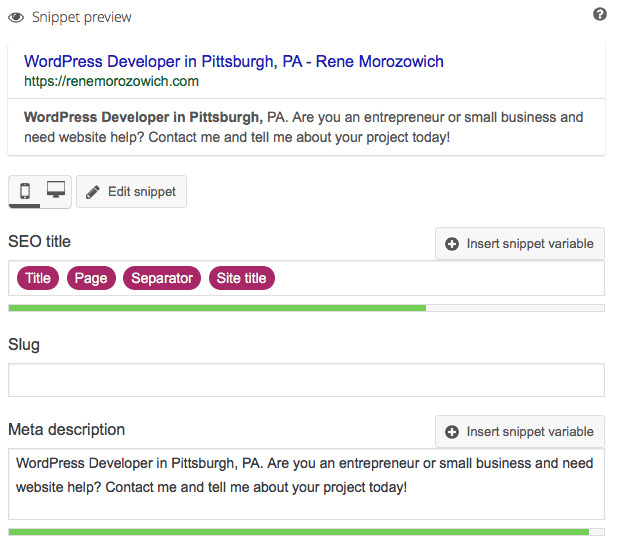 Meta description snippet preview in Yoast