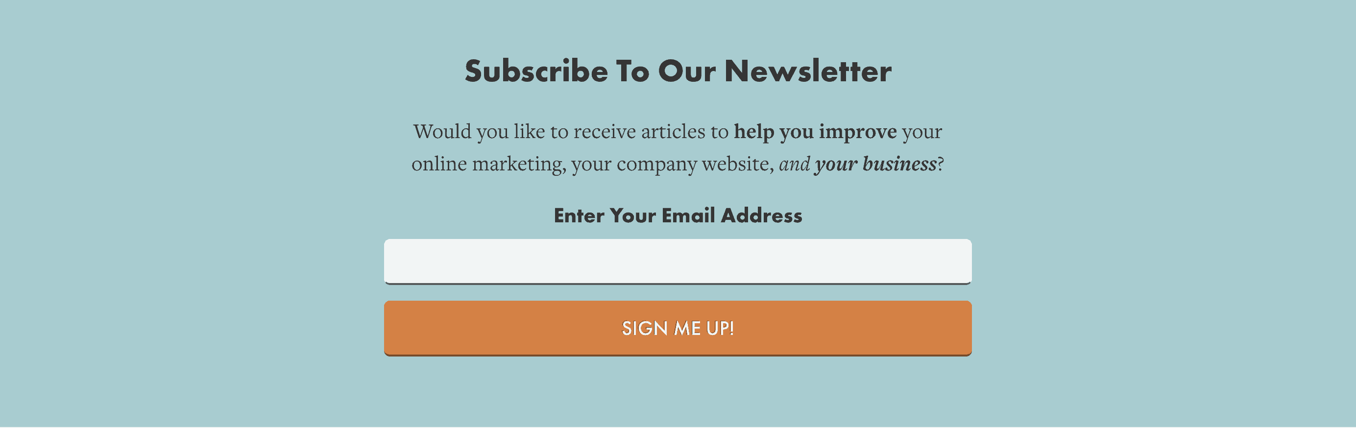 Below post panel newsletter signup Lockedown SEO
