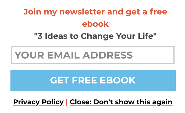 Slide in newsletter sign up Mark Manson