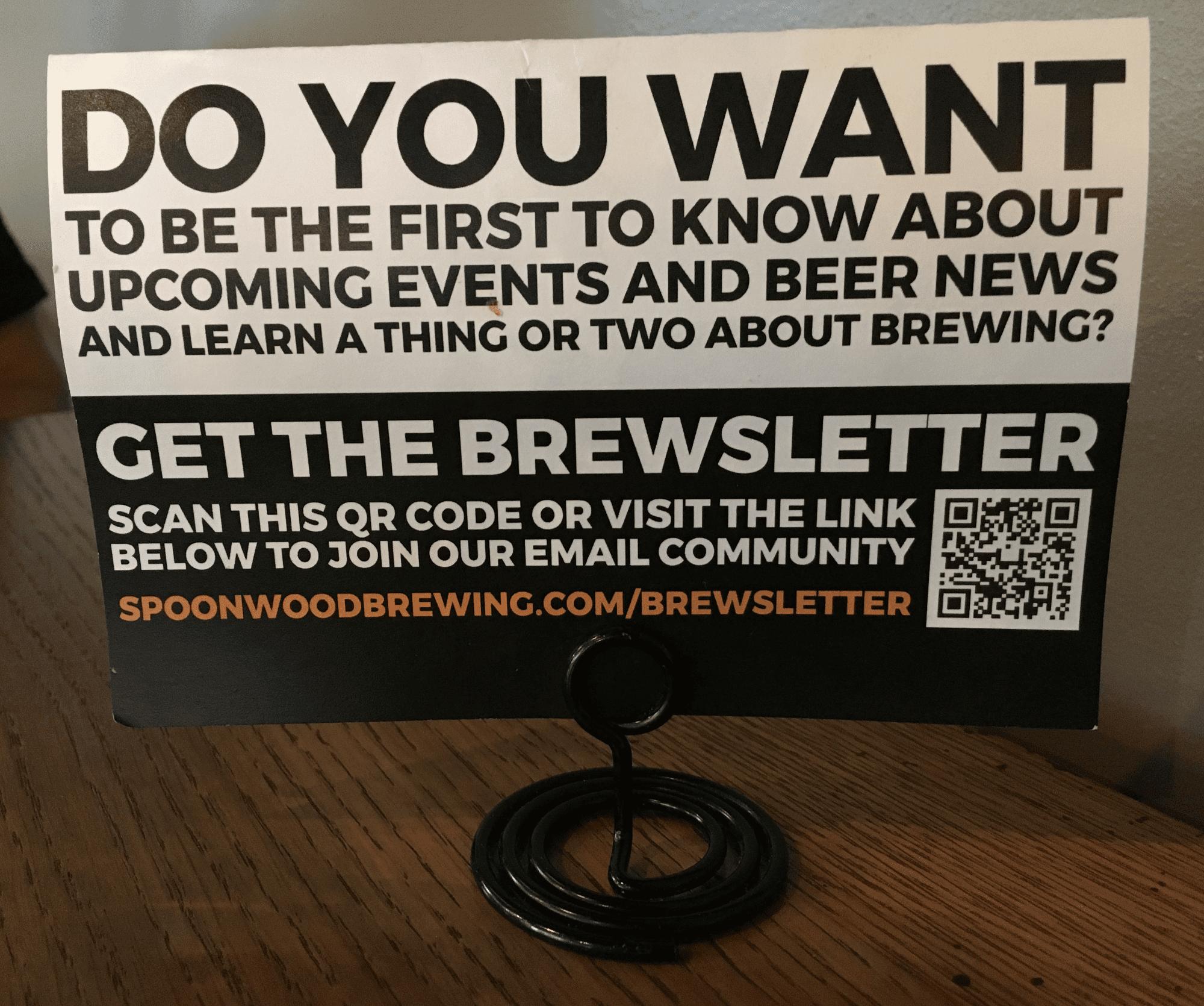 Spoonwood Brewing table card