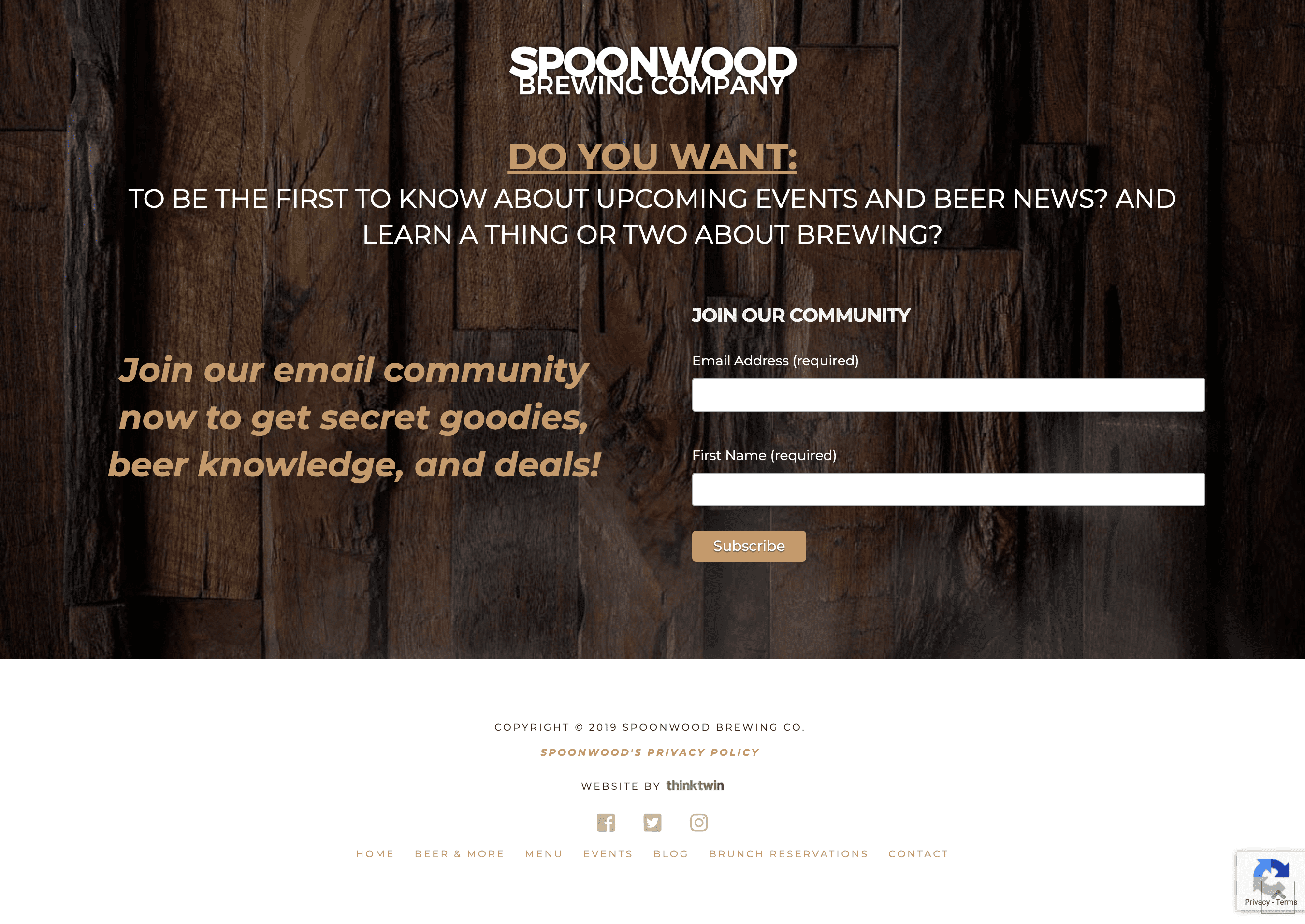 Spoonwood Brewing sign up