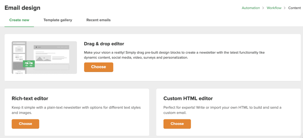 Email design options in MailerLite