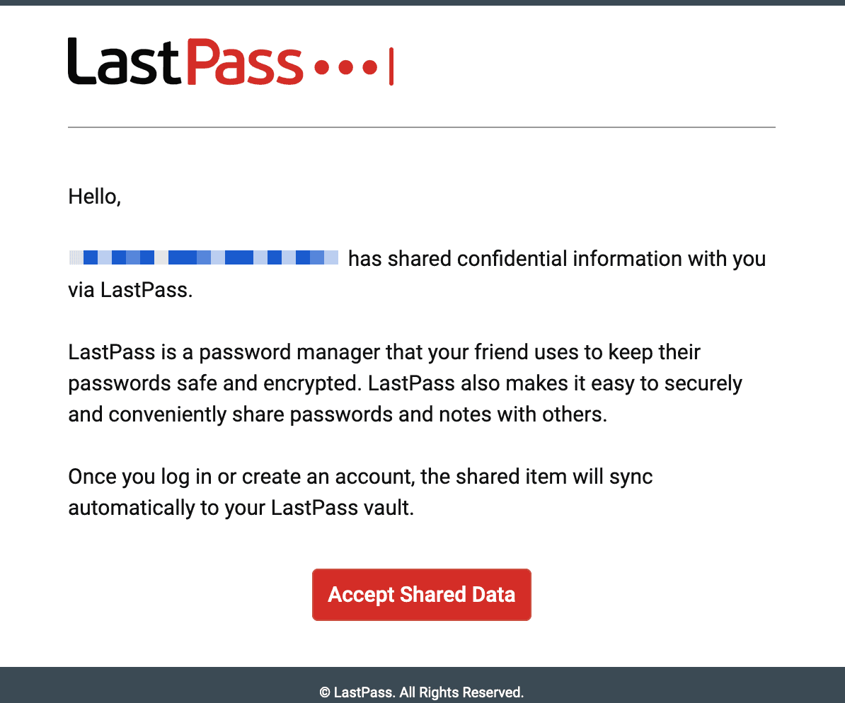 LastPass information shared email