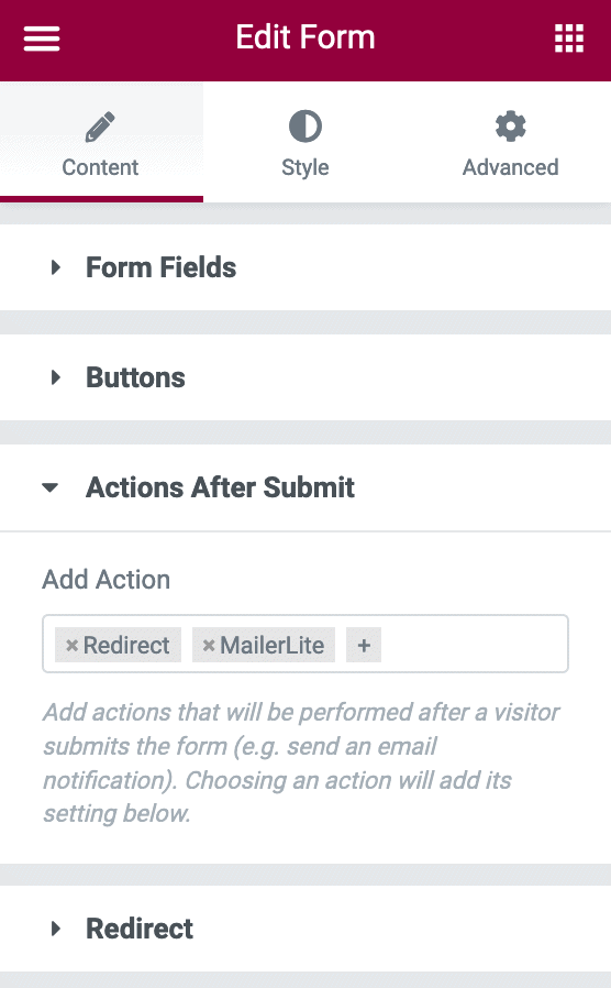 Elementor form settings - choose Redirect under Actions After Submit